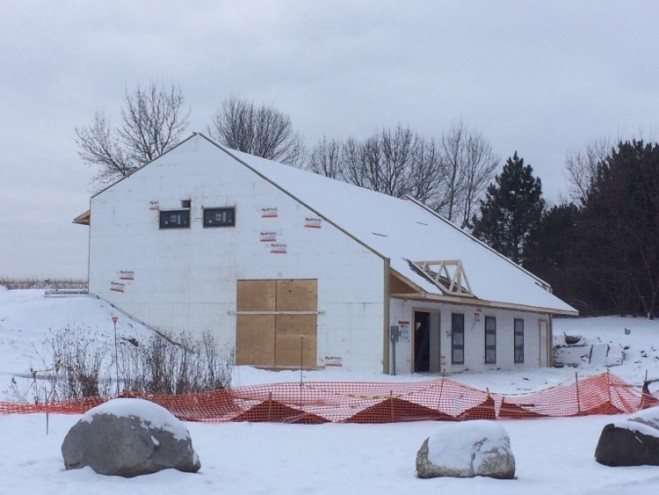 roof sheathing and windows complete Dec 15 - north east corner